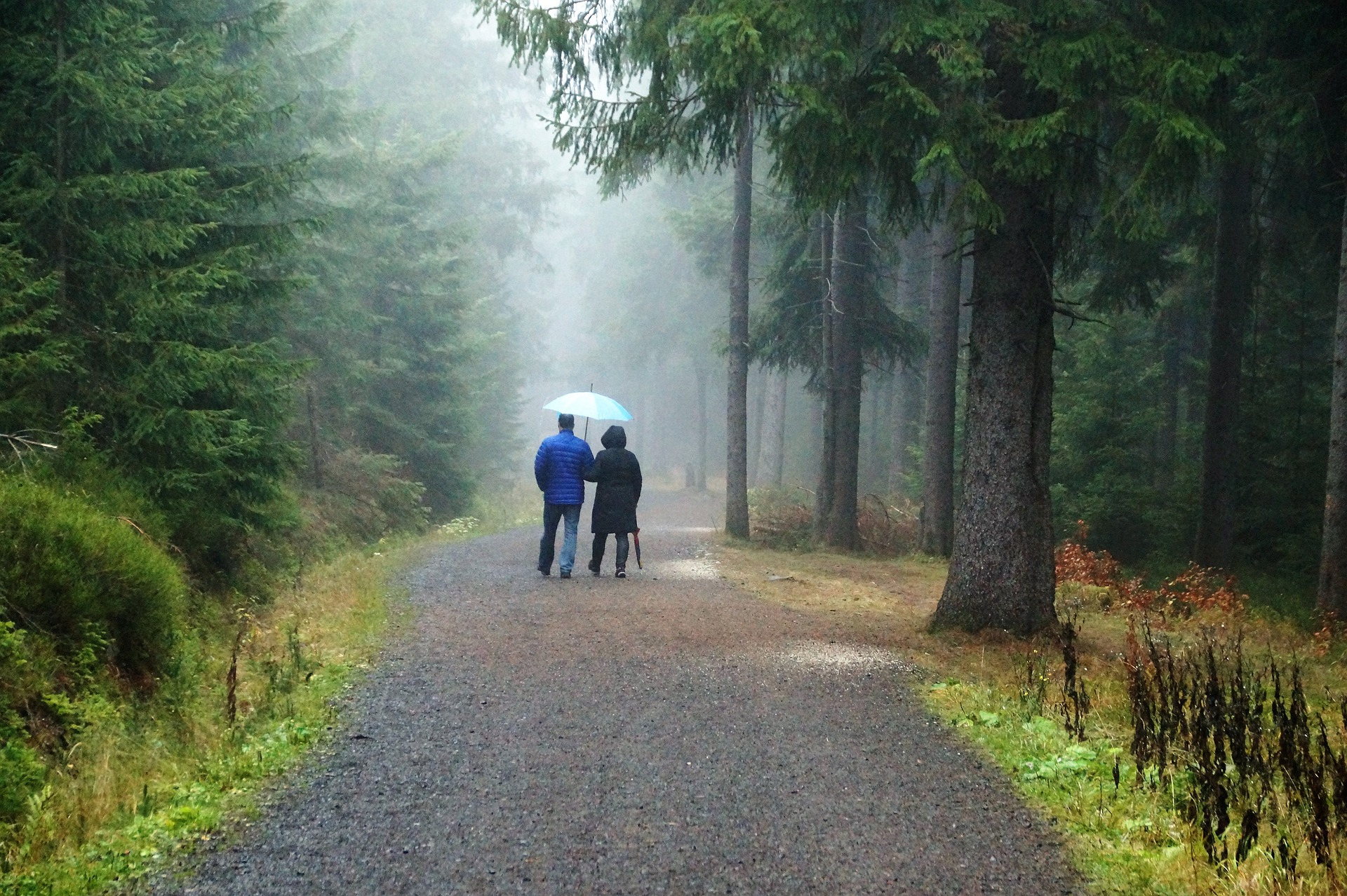 Couple in cloudy weather